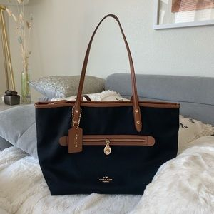 Coach Black and Tan Tote